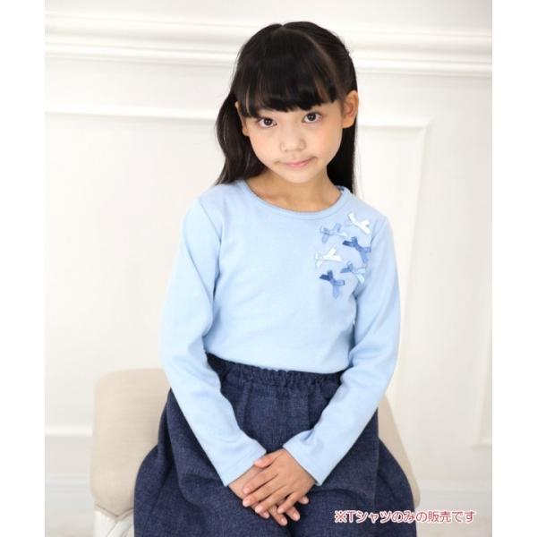 子供服 女の子 Tシャツ 長袖 普段着 通学着 リボンつき微起毛素材 ショッキングピンク ブルー 120cm 130cm 140cm 150cm 160cm アイアムマリリン IamMarilyn|moononnon|18
