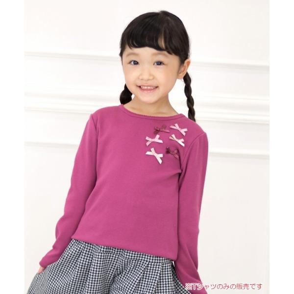 子供服 女の子 Tシャツ 長袖 普段着 通学着 リボンつき微起毛素材 ショッキングピンク ブルー 120cm 130cm 140cm 150cm 160cm アイアムマリリン IamMarilyn|moononnon|10