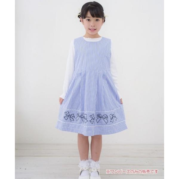子供服 女の子 ワンピース・ジャンパースカート ノースリーブ 綿100%ストライプ柄リボン刺繍切り替えAラインギャザー アイアムマリリン IamMarilyn|moononnon|11
