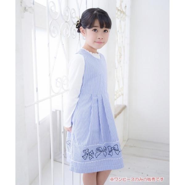 子供服 女の子 ワンピース・ジャンパースカート ノースリーブ 綿100%ストライプ柄リボン刺繍切り替えAラインギャザー アイアムマリリン IamMarilyn|moononnon|12