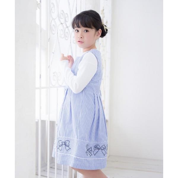 子供服 女の子 ワンピース・ジャンパースカート ノースリーブ 綿100%ストライプ柄リボン刺繍切り替えAラインギャザー アイアムマリリン IamMarilyn|moononnon|13