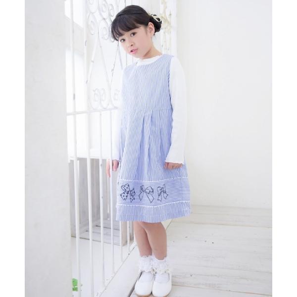 子供服 女の子 ワンピース・ジャンパースカート ノースリーブ 綿100%ストライプ柄リボン刺繍切り替えAラインギャザー アイアムマリリン IamMarilyn|moononnon|14