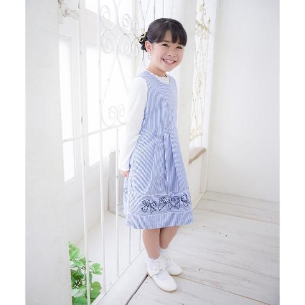 子供服 女の子 ワンピース・ジャンパースカート ノースリーブ 綿100%ストライプ柄リボン刺繍切り替えAラインギャザー アイアムマリリン IamMarilyn|moononnon|15