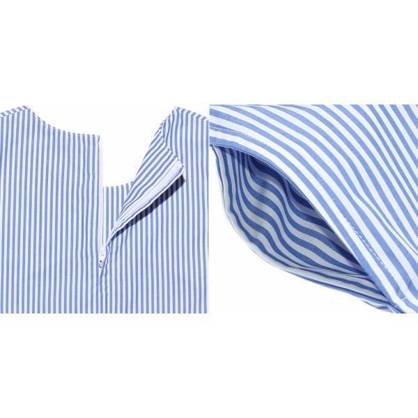 子供服 女の子 ワンピース・ジャンパースカート ノースリーブ 綿100%ストライプ柄リボン刺繍切り替えAラインギャザー アイアムマリリン IamMarilyn|moononnon|05