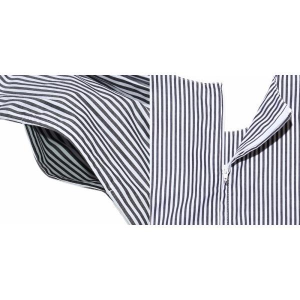 子供服 女の子 ワンピース・ジャンパースカート ノースリーブ 綿100%ストライプ柄リボン刺繍切り替えAラインギャザー アイアムマリリン IamMarilyn|moononnon|09