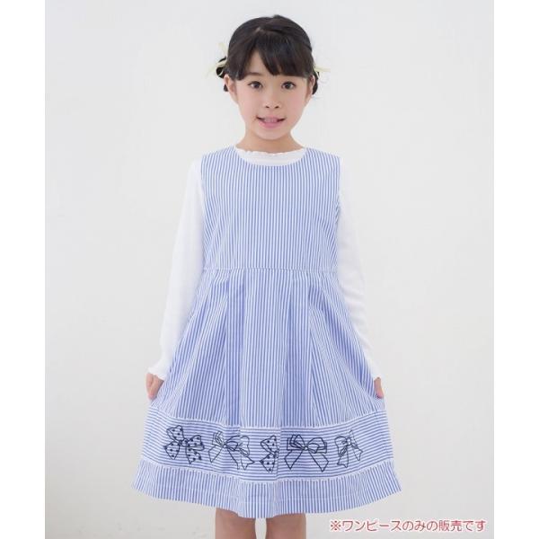 子供服 女の子 ワンピース・ジャンパースカート ノースリーブ 綿100%ストライプ柄リボン刺繍切り替えAラインギャザー アイアムマリリン IamMarilyn|moononnon|10