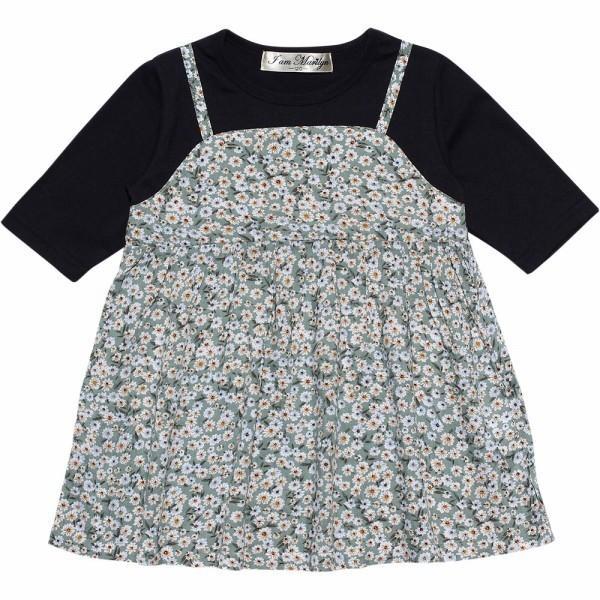 子供服 女の子 Tシャツ 長袖 普段着 通学着 花柄キャミソール切り替え重ね着風デザイン Aライン ネイビー オフホワイト アイアムマリリン IamMarilyn moononnon 02