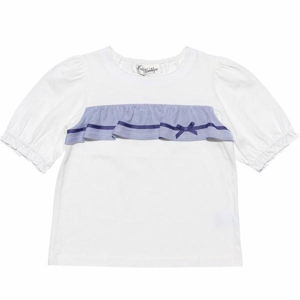 子供服 女の子 Tシャツ 半袖 普段着 通学着 綿100% ストライプ柄フリル&リボンつきフリル袖口 ブラック ブルー アイアムマリリン IamMarilyn moononnon 02