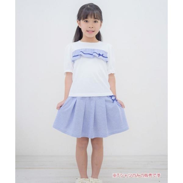 子供服 女の子 Tシャツ 半袖 普段着 通学着 綿100% ストライプ柄フリル&リボンつきフリル袖口 ブラック ブルー アイアムマリリン IamMarilyn moononnon 11