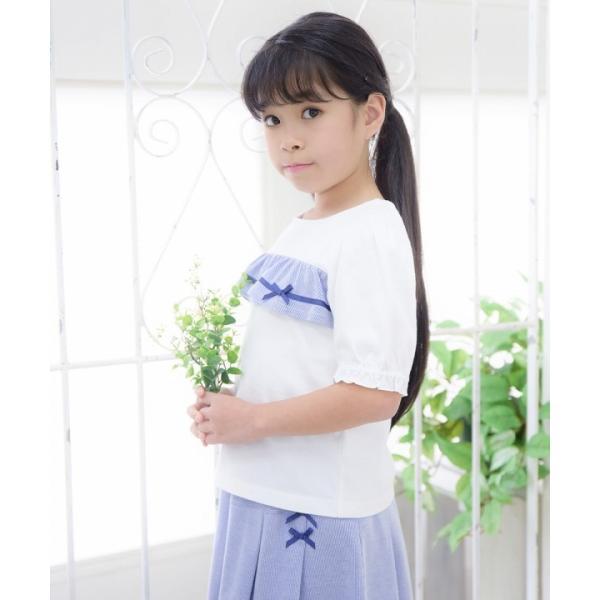 子供服 女の子 Tシャツ 半袖 普段着 通学着 綿100% ストライプ柄フリル&リボンつきフリル袖口 ブラック ブルー アイアムマリリン IamMarilyn moononnon 12
