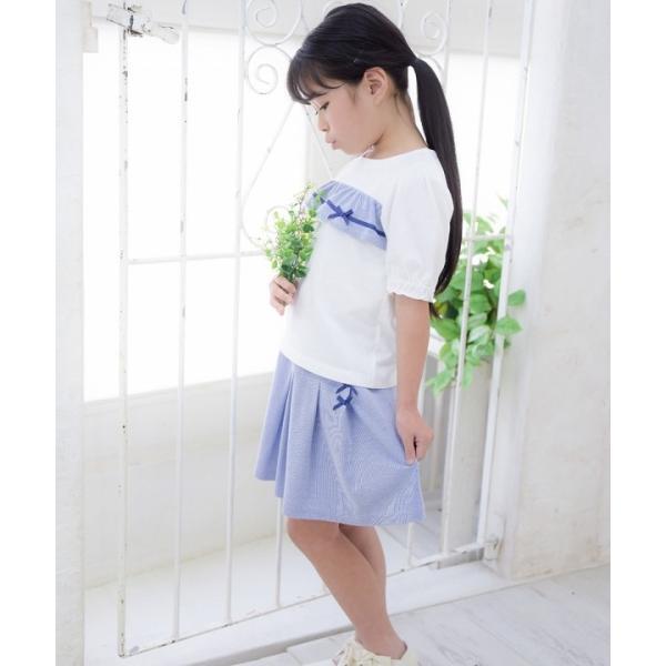 子供服 女の子 Tシャツ 半袖 普段着 通学着 綿100% ストライプ柄フリル&リボンつきフリル袖口 ブラック ブルー アイアムマリリン IamMarilyn moononnon 13