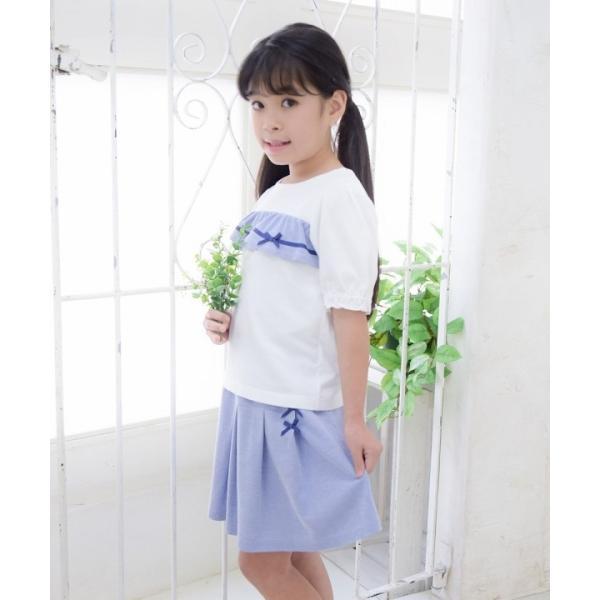 子供服 女の子 Tシャツ 半袖 普段着 通学着 綿100% ストライプ柄フリル&リボンつきフリル袖口 ブラック ブルー アイアムマリリン IamMarilyn moononnon 14