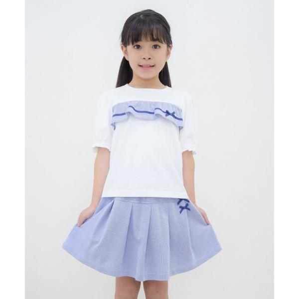 子供服 女の子 Tシャツ 半袖 普段着 通学着 綿100% ストライプ柄フリル&リボンつきフリル袖口 ブラック ブルー アイアムマリリン IamMarilyn moononnon 15