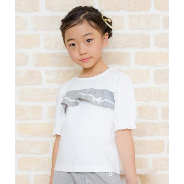 子供服 女の子 Tシャツ 半袖 普段着 通学着 綿100% ストライプ柄フリル&リボンつきフリル袖口 ブラック ブルー アイアムマリリン IamMarilyn moononnon 16