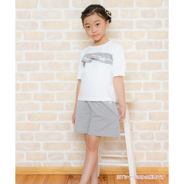 子供服 女の子 Tシャツ 半袖 普段着 通学着 綿100% ストライプ柄フリル&リボンつきフリル袖口 ブラック ブルー アイアムマリリン IamMarilyn moononnon 17