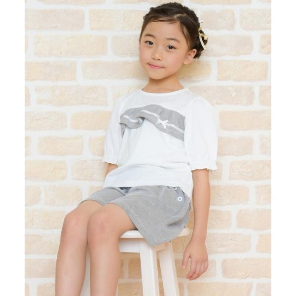 子供服 女の子 Tシャツ 半袖 普段着 通学着 綿100% ストライプ柄フリル&リボンつきフリル袖口 ブラック ブルー アイアムマリリン IamMarilyn moononnon 19