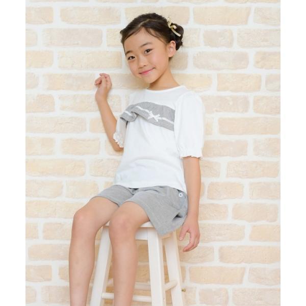 子供服 女の子 Tシャツ 半袖 普段着 通学着 綿100% ストライプ柄フリル&リボンつきフリル袖口 ブラック ブルー アイアムマリリン IamMarilyn moononnon 20