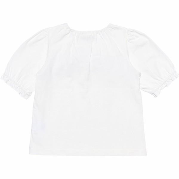 子供服 女の子 Tシャツ 半袖 普段着 通学着 綿100% ストライプ柄フリル&リボンつきフリル袖口 ブラック ブルー アイアムマリリン IamMarilyn moononnon 03
