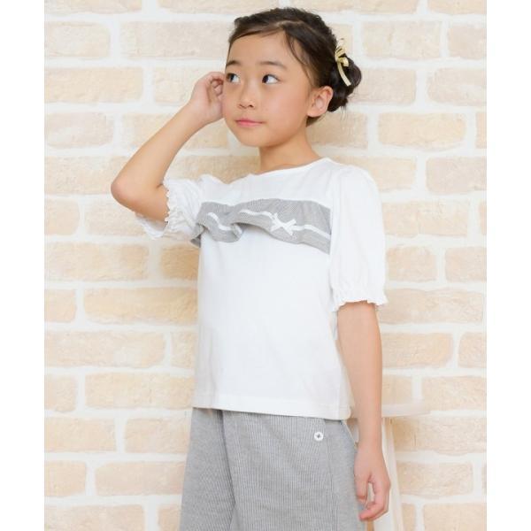 子供服 女の子 Tシャツ 半袖 普段着 通学着 綿100% ストライプ柄フリル&リボンつきフリル袖口 ブラック ブルー アイアムマリリン IamMarilyn moononnon 21
