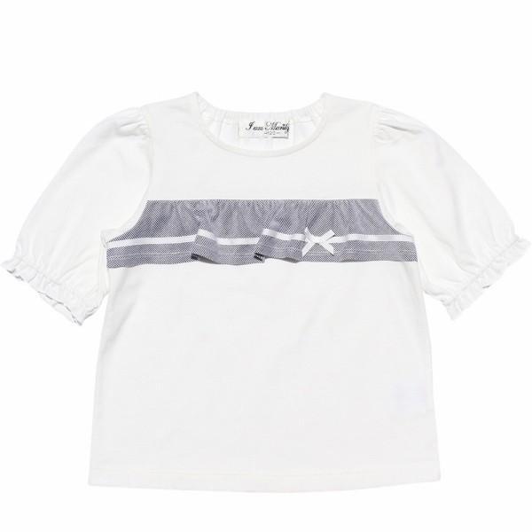 子供服 女の子 Tシャツ 半袖 普段着 通学着 綿100% ストライプ柄フリル&リボンつきフリル袖口 ブラック ブルー アイアムマリリン IamMarilyn moononnon 06