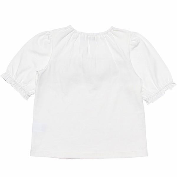 子供服 女の子 Tシャツ 半袖 普段着 通学着 綿100% ストライプ柄フリル&リボンつきフリル袖口 ブラック ブルー アイアムマリリン IamMarilyn moononnon 07