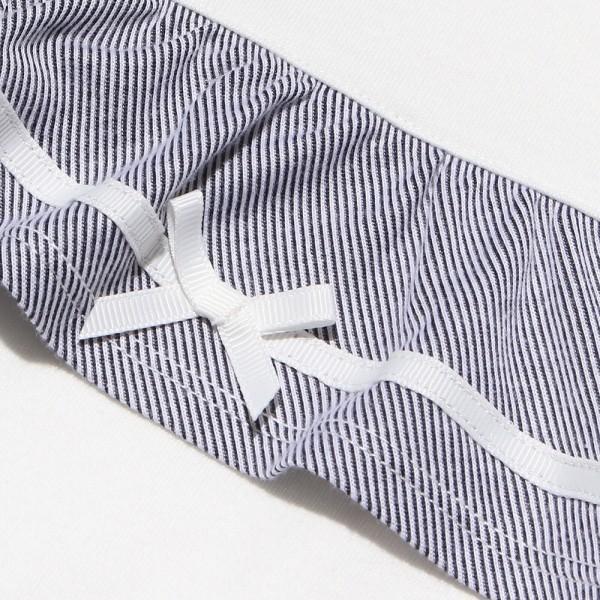 子供服 女の子 Tシャツ 半袖 普段着 通学着 綿100% ストライプ柄フリル&リボンつきフリル袖口 ブラック ブルー アイアムマリリン IamMarilyn moononnon 08