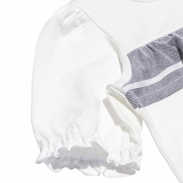 子供服 女の子 Tシャツ 半袖 普段着 通学着 綿100% ストライプ柄フリル&リボンつきフリル袖口 ブラック ブルー アイアムマリリン IamMarilyn moononnon 09