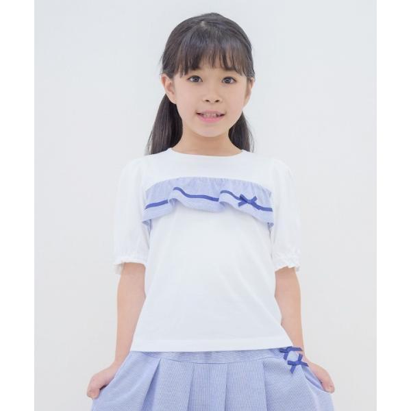 子供服 女の子 Tシャツ 半袖 普段着 通学着 綿100% ストライプ柄フリル&リボンつきフリル袖口 ブラック ブルー アイアムマリリン IamMarilyn moononnon 10