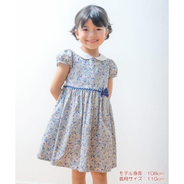 子供服 女の子 ワンピース・ジャンパースカート 半袖 お出かけ着 普段着 発表会 食事会 日本製綿100%花柄リボン&襟付き アイアムマリリン IamMarilyn|moononnon|16