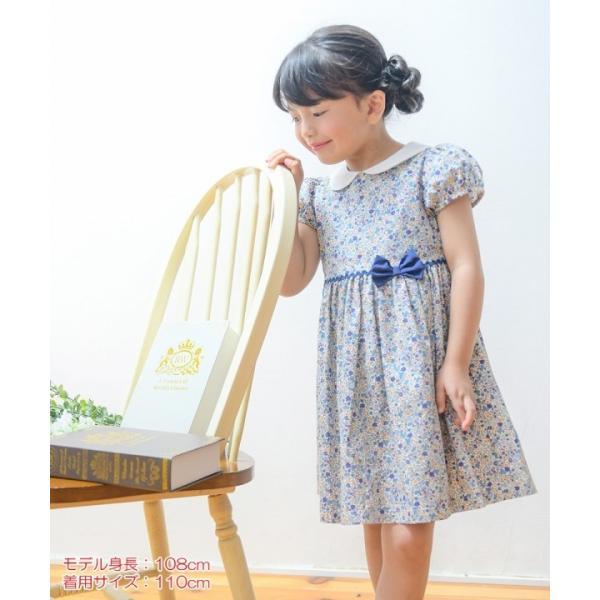 子供服 女の子 ワンピース・ジャンパースカート 半袖 お出かけ着 普段着 発表会 食事会 日本製綿100%花柄リボン&襟付き アイアムマリリン IamMarilyn|moononnon|18