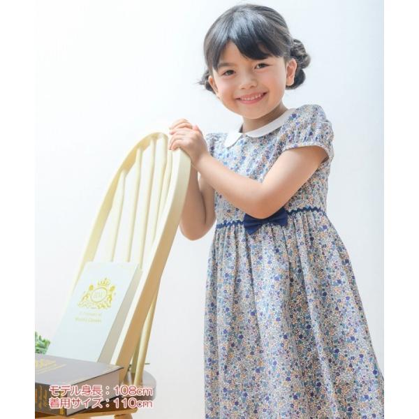 子供服 女の子 ワンピース・ジャンパースカート 半袖 お出かけ着 普段着 発表会 食事会 日本製綿100%花柄リボン&襟付き アイアムマリリン IamMarilyn|moononnon|19