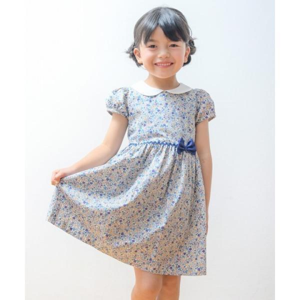 子供服 女の子 ワンピース・ジャンパースカート 半袖 お出かけ着 普段着 発表会 食事会 日本製綿100%花柄リボン&襟付き アイアムマリリン IamMarilyn|moononnon|20