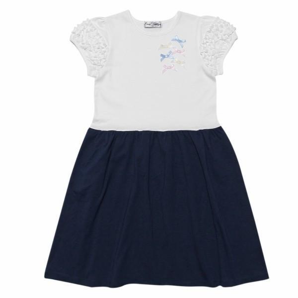 子供服 女の子 ワンピース・ジャンパースカート 半袖 普段着 通学着 ジュニアサイズ 綿100%リボンつきフリルそでAライン アイアムマリリン IamMarilyn|moononnon|02