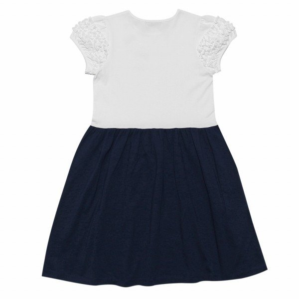 子供服 女の子 ワンピース・ジャンパースカート 半袖 普段着 通学着 ジュニアサイズ 綿100%リボンつきフリルそでAライン アイアムマリリン IamMarilyn|moononnon|03