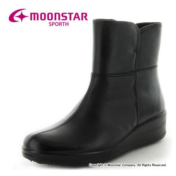 ムーンスター レディース 本革 ブーツ スポルス SP7765WSR ブラック moonstar