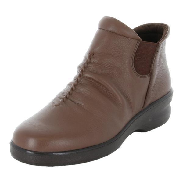 ムーンスター レディース 本革 ブーツ 幅広4E スポルス SP2160WSR ダークブラウン 防滑底 サイドゴア moonstar