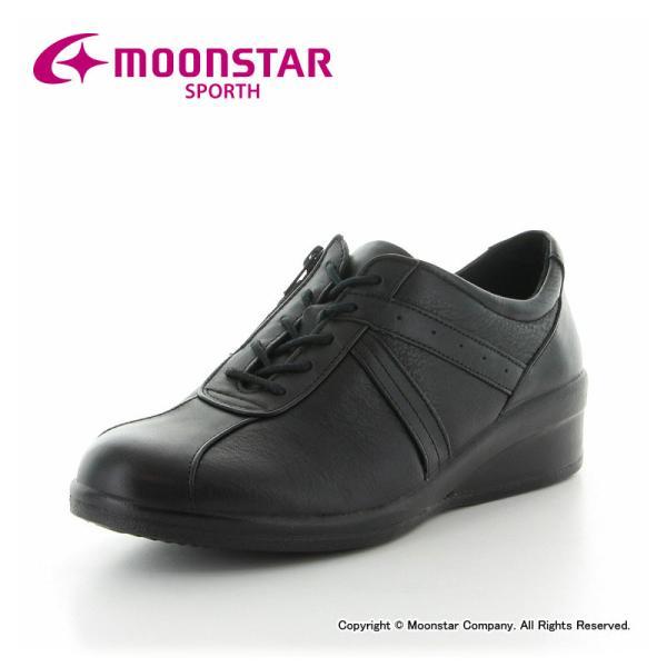 ムーンスター コンフォートシューズ 本革 レディース スポルス SP7802 ブラック 3E moonstar 母の日