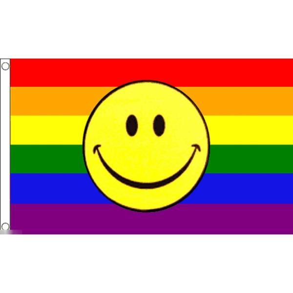 海外限定 国旗 虹 レインボーフラッグ スマイルマーク スマイリーフェイス 特大フラッグ morebuymore