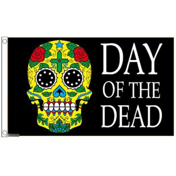 海外限定 国旗 デイ・オブ・ザ・デッド 死者の日 メキシコ メキシカンスカル カラベラ シュガー 骸骨 ドクロ 特大フラッグ morebuymore