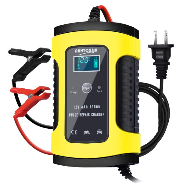 HAUSPROFI?バッテリー充電器6A12V兼用LEDランプ逆接続/ショート/過電圧/過電流保護メンテナンス充電器バッテリーチ