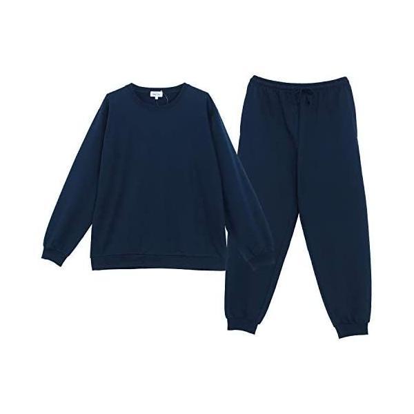 NISHIKI ニシキ スウェット上下セット長袖メンズパジャマ綿35%ミニ裏毛長ズボン春秋ルームウェア(ネイビーLL)