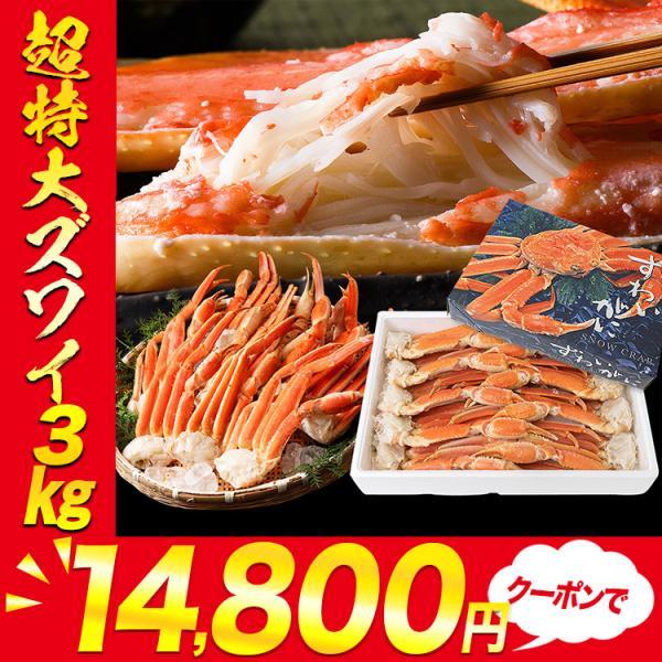 特大4Lサイズ ボイル ずわい蟹 3kg 送料無料 冷凍便 蟹 カニ ずわいがに ズワイガニ 送料無料 お取り寄せ 食品 備蓄