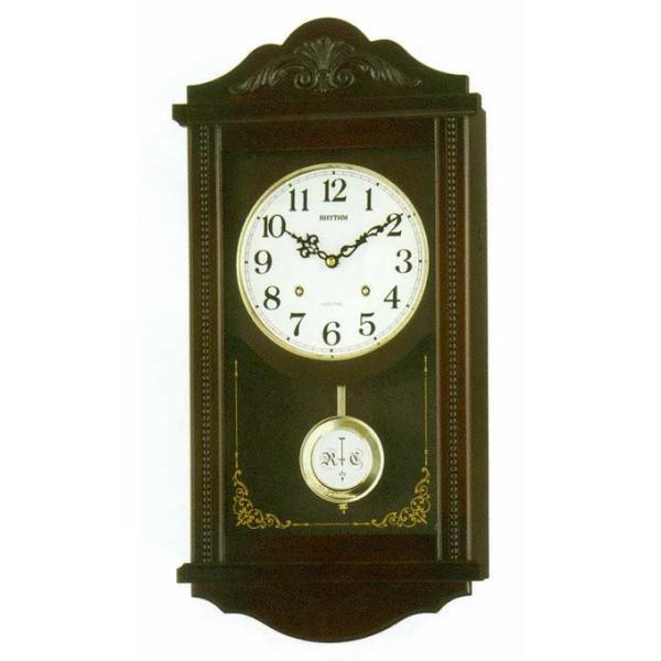 木枠の柱時計 リズム RHYTHM アタッシュマンR 壁掛け時計 4MJA01RH06 文字入れ対応、有料 取り寄せ品|morimototokeiten