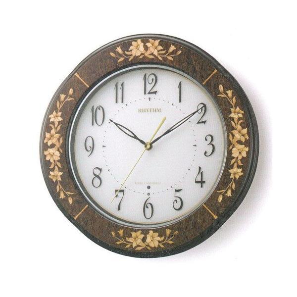 象嵌 インテリア 壁掛け時計 電波時計 リズム RHYTHM 掛時計 8MY471HG06 文字入れ名入れ対応、有料 取り寄せ品|morimototokeiten