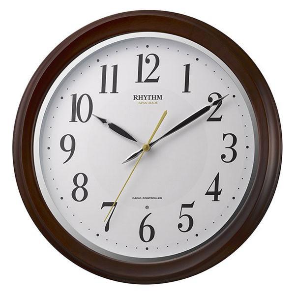 暗くなると秒針を止め 音がしない 壁掛け時計 電波時計 8MY512SR06 連続秒針 文字入れ対応、有料 取り寄せ品 morimototokeiten