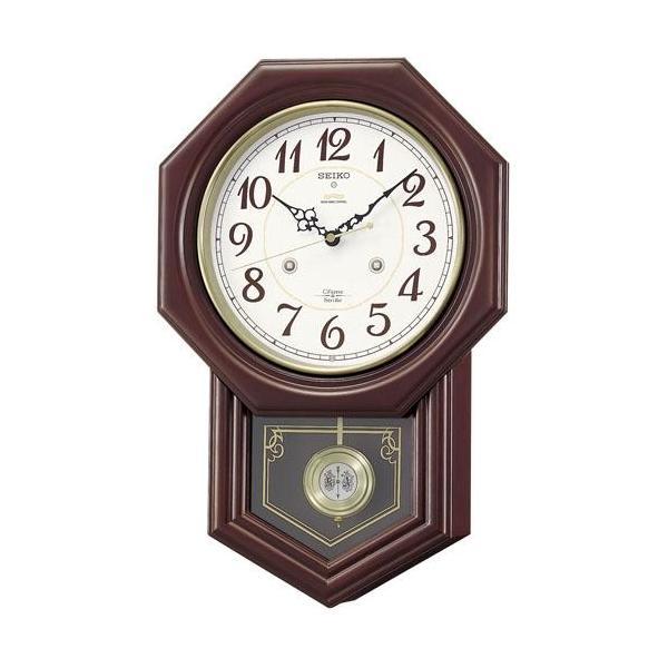木枠の柱時計 セイコー チャイムで報知 電波時計 壁掛け時計 RQ205B 文字入れ対応、有料 取り寄せ品 morimototokeiten