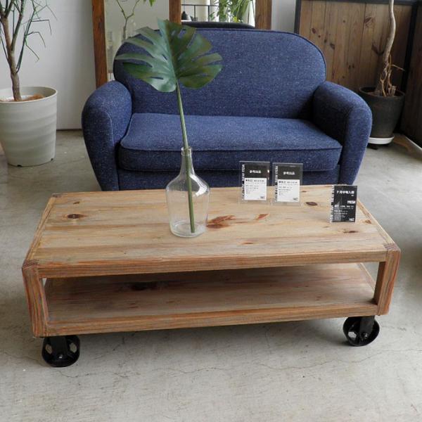 今なら送料無料!パイン古材で作った車輪が個性的なレトロな115cm幅リビングテーブル ムート リビングテーブル 115 MOSHモッシュ ガルト
