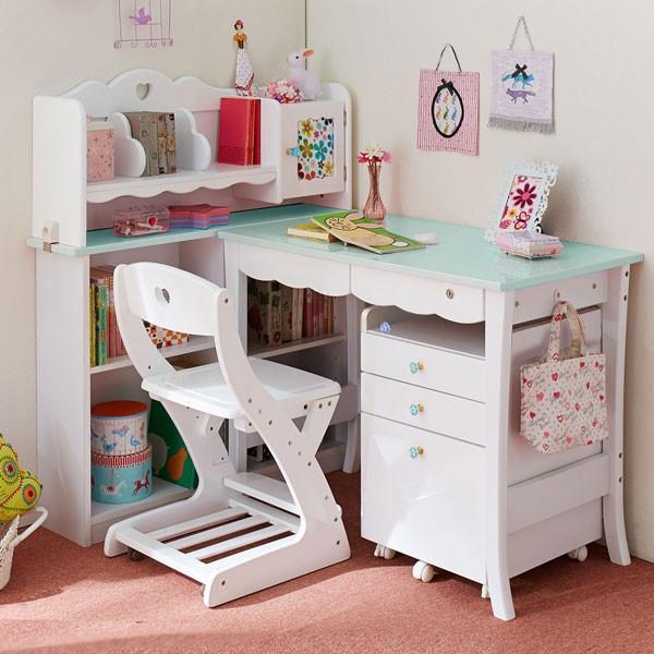 送料無料、女の子向けのブルー、ピンク、パープル、白木目が選べる組み換え型の100cm幅かわいい学習机 lup-519 ハートデスク キッズデスク 大商産業