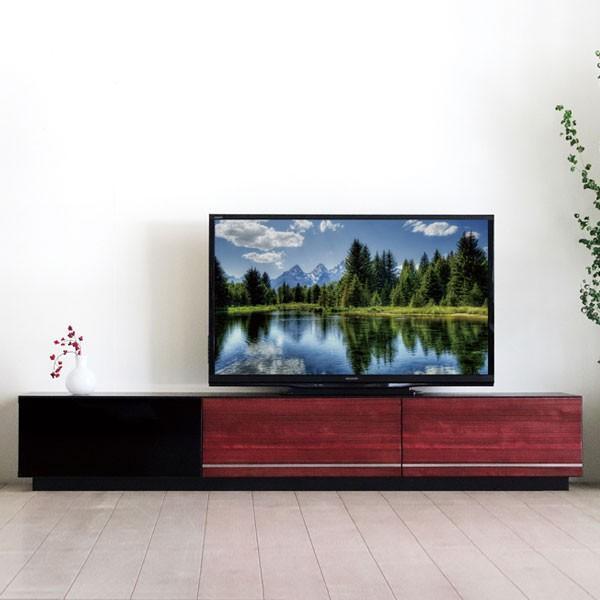 今なら送料無料、黒をベースに引き出し部分をイタリアンカラーのレッドをミックスしたモダンな180cm幅テレビボード ウラン モーブル