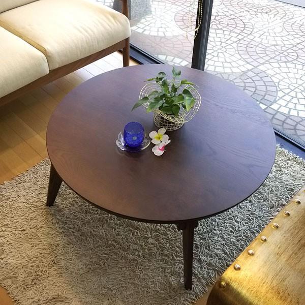 今なら送料無料、節ありのナラ材を使った自然なイメージのシンプルな折れ脚機能付き国産・日本製90cm丸コタツ 円形こたつ さぬき丸 讃和 ナラ・オーク ダーク色